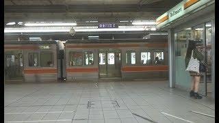 名古屋駅を出発して再開発が進む高層ビル街を走行していく東海道本線下り特別快速313系の車窓