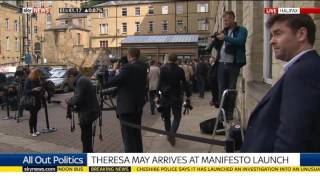 Theresa May Arrives At Conservative Party's Manifesto Launch
