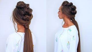 Прическа на каждый день на длинные волосы| Коса на резинках с хвостом💜 Daily Hairstyles with Braids