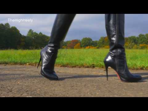 Walking with my black leather stiletto boots