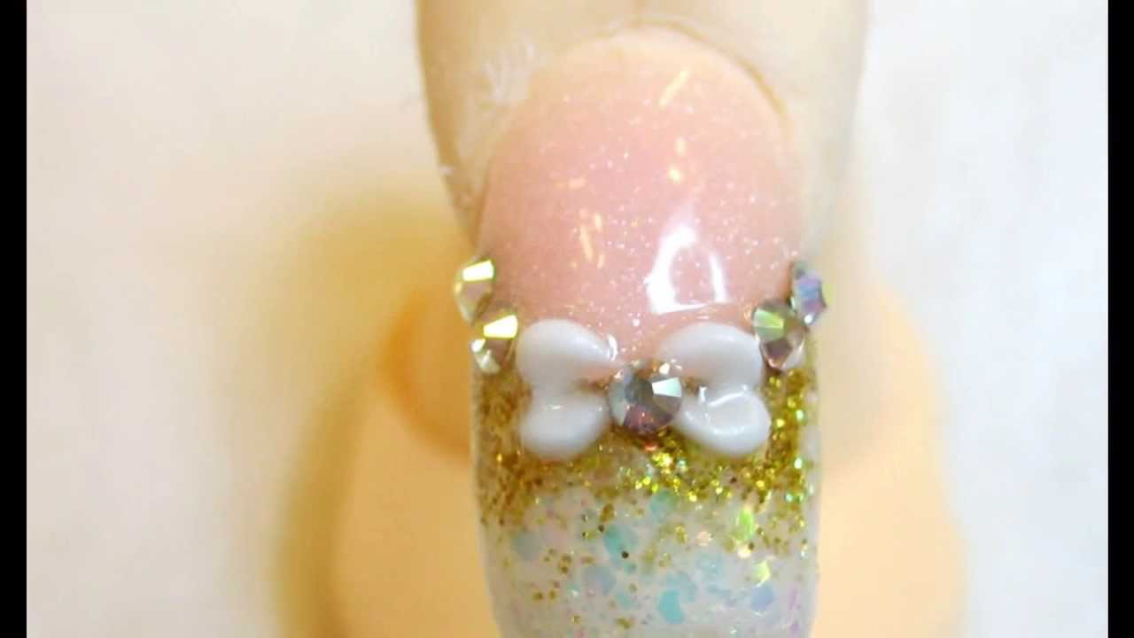French acrylic glitter nails with bow and swarovski crystals white ...