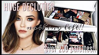 Decluttering and Organizing My HUGE Makeup Collection | Eyeshadow Palettes