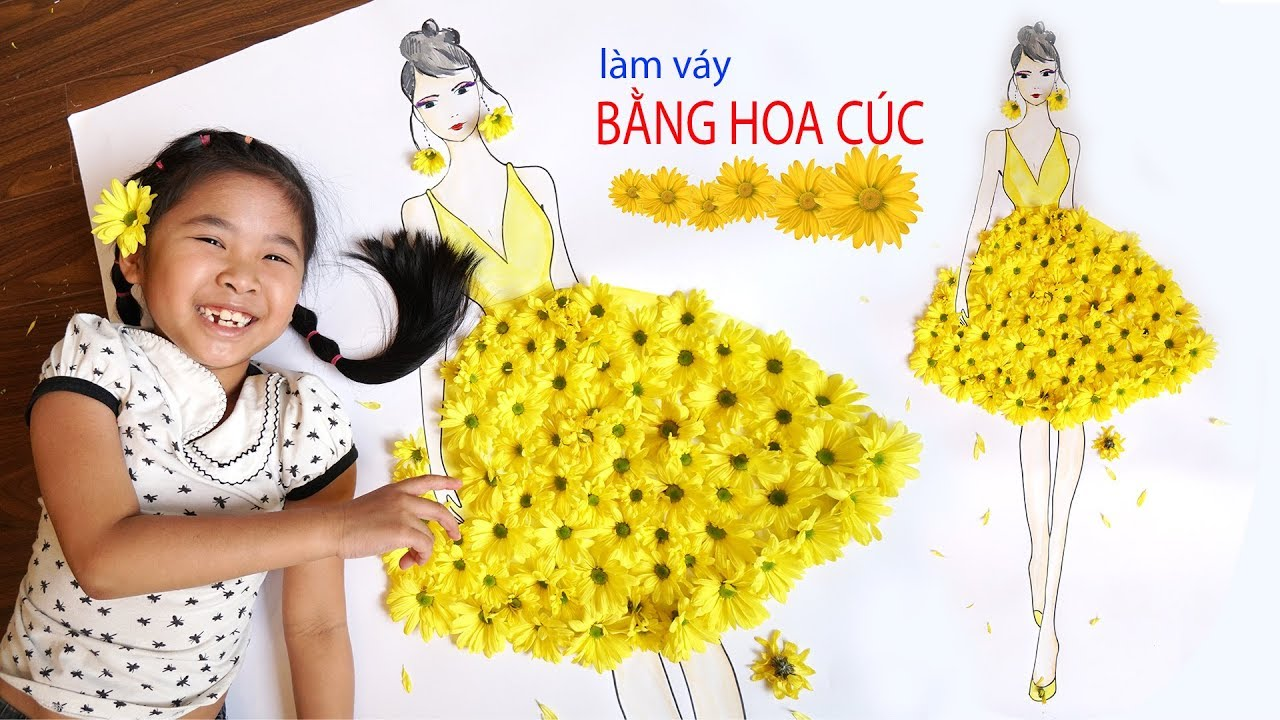 Bé Bún Làm Váy Bạn Gái Bằng 100 Bông Hoa Cúc  Dress Flower