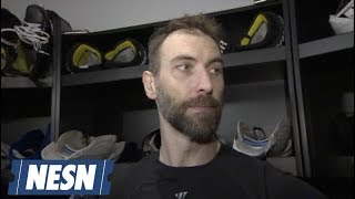 Boston Bruins defensman Zdeno Chara speaks with media about his rol...