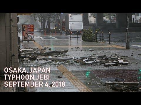 Typhoon Jebi destruction in Osaka, Japan (September 4, 2018)