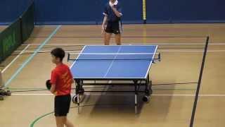 2013學界乒乓球賽 B grade 決賽 嚴X楠 vs 梁X维 R3 上