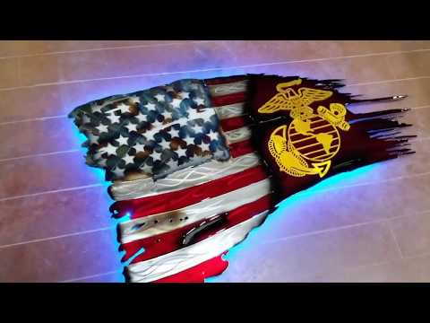 Tattered Ripped American Flag DXF File With Marines Logo And LEDs CNC Plasma Cutter