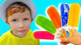 Лео и папа в детской истории про фруктовое мороженое.