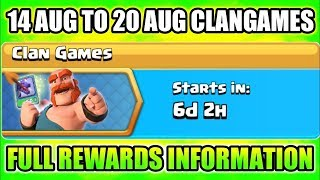 UPCOMING Clan Games 14 AUG - 20 AUG CLAN GAMES Rewards Information Leaked_Clash Of Clans 2018(HINDI)