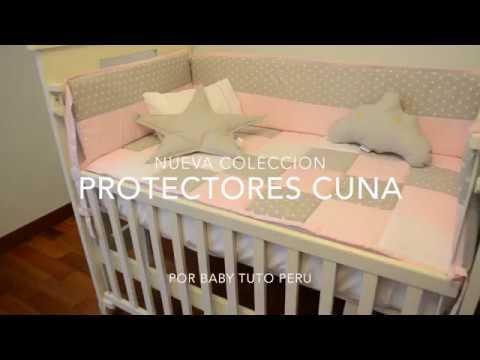 Set de cuna para cuna, cama cuna con protector rosado estrellas c/gris