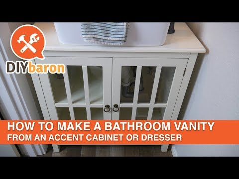 How to make a bathroom vanity from an accent cabinet or dresser.