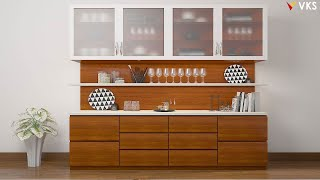 Modern Crockery Unit Design | Crockery Cabinet Storage Design | Dining Showcase Shelves Design