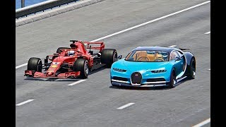 Ferrari F1 2018 vs Bugatti Chiron  TOP SPEED BATTLE