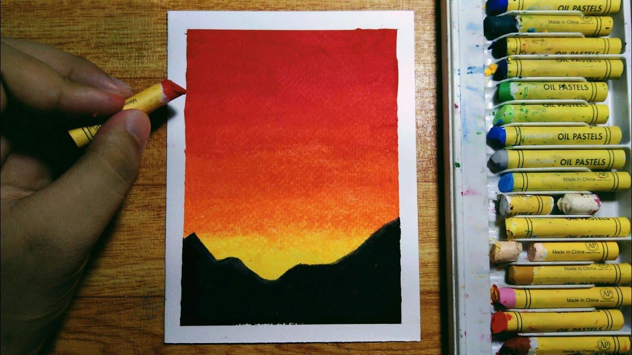 pastel oil easy beginners sunset drawing step tutorial