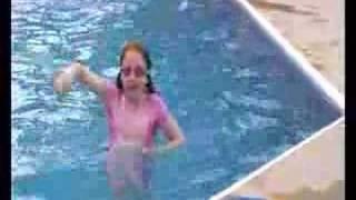 John, Rebecca and Jessica swimming