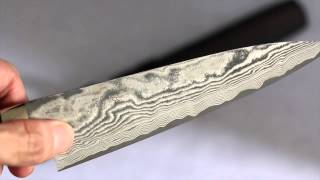 Takeshi Saji VG10 Black Finish Damascus Petty with micarta handle Japanese Chef Knife