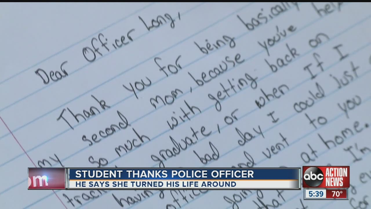 StudentS Thank You Letter Brings Police Officer To Tears  Youtube