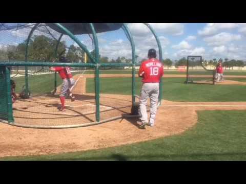 Andrew Benintendi takes Brian Johnson deep in live BP at Red Sox camp, Feb. 19, 2017