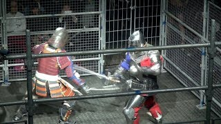 A historic battle between fully armored knights and samurai