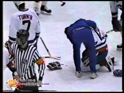 Mar 13, 1992 Marc Potvin vs Wayne Doucet Adirondack Red Wings vs Capital District Islanders AHL