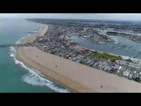 DJI Phantom 4 Pro Cruisng Over Newport Harbor -- Newport Beach, CA