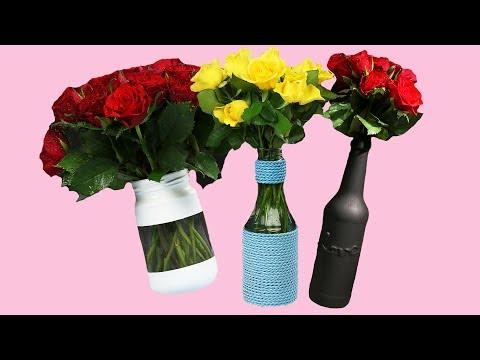 Vase aus Flasche DIY Anleitung für Deko Upcycling