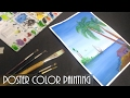 Poster color painting- how to paint ocean landscape with palm tree