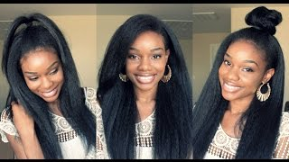 Kinky Straight Hair UNDER $15!!! 3 Style Lookbook | Outre Annie Sistawigs.com