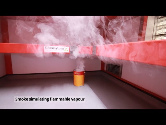 University Flammable Storage with temperature control, fire detection and fire suppression.