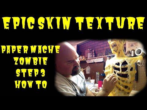 Skinning a paper mache zombie