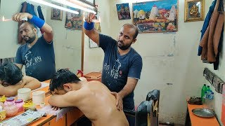 Reiki Master Hot Wax Back Massage and Head Massage with Neck Cracking | Indian Massage