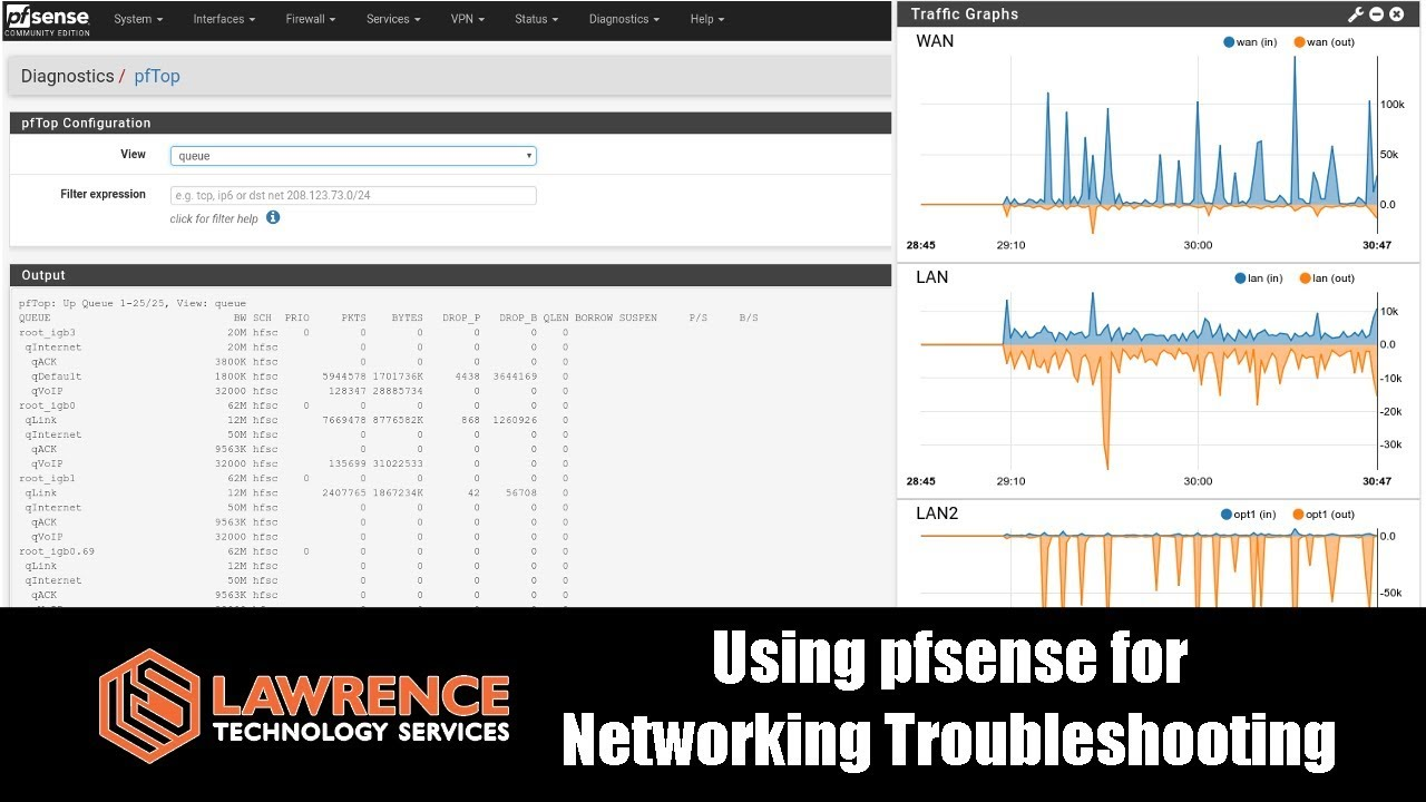 pfsense Tools for Networking Troubleshooting & Problem Solving : pftop,  NTOPng, packet capture