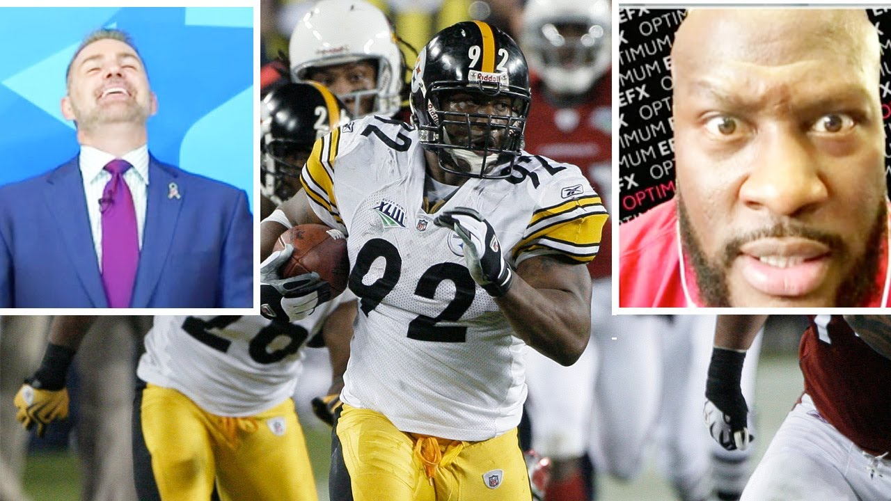 "James Harrison & Kurt Warner React to Pick 6 in Super Bowl, ""Tell Fitz don't run into his own guy!"""