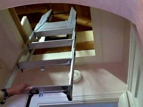 Compact Attic Installation With Existing Push Up Door