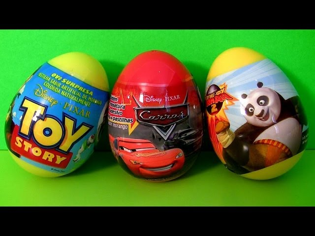 3 Surprise Eggs Disney Cars 2 Pixar Toy Story TOYS Kung Fu Panda Unboxing Sorpresa Huevos Toy Review Travel Video