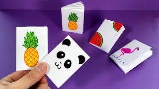 Mini Notizbuch basteln mit Papier für Schule: Panda, Ananas, Flamingo. DIY Heft basteln mit Kindern