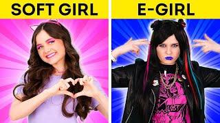 E-GIRL VS SOFT GIRL || Divertenti Trend Di TikTok Per Familiari E Amici! su 123 GO! BOYS
