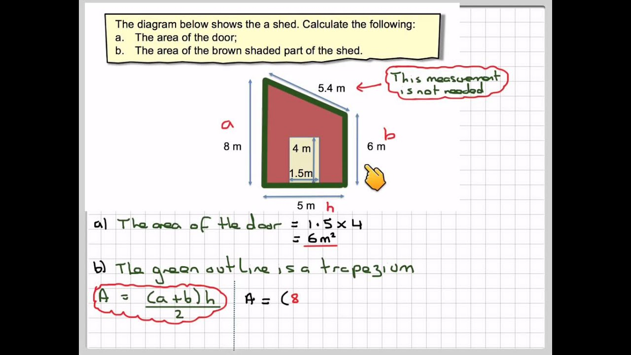 Finding The Area Of Apound Shape Using A Trapezium