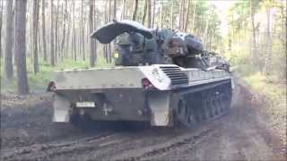 Leopard Tank (Gepard) drives over car at almost full speed