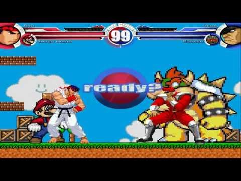 Ryu & Super Mario vs Vega & Bowser MUGEN Battle!!!