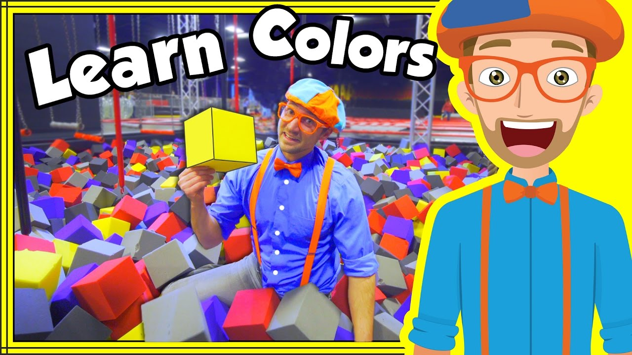 Learn Colors with Blippi at an Indoor Trampoline Park