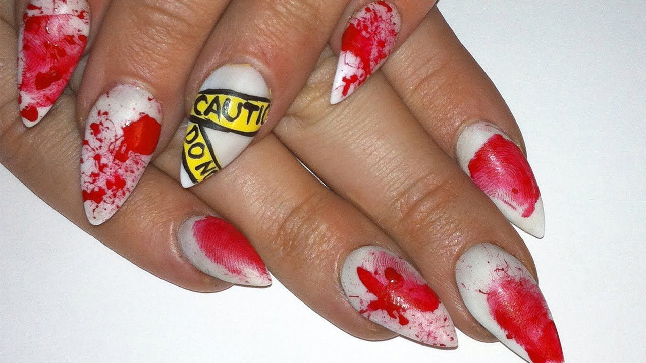 Bloody Crime Scene Halloween Nails - YouTube