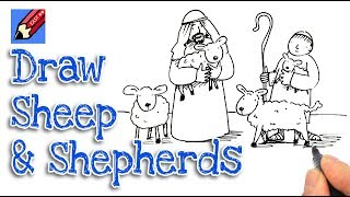 How to Draw the Shepherds and Sheep Real Easy - Nativity Part 3