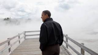 President Obama in Yellowstone National Park