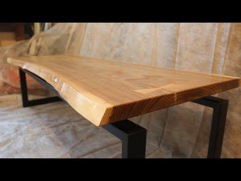 Live Edge Slab Coffee Table. Журнальный столик из слэба карагача.