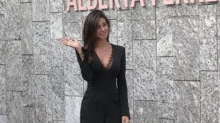 Belen Rodriguez arrives at Alberta Ferretti Fashion Show in Milan