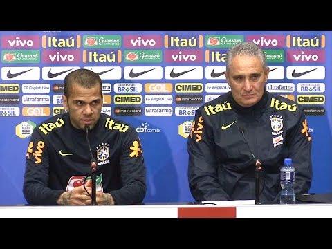 Tite & Dani Alves Full Press Conference - England v Brazil - International Friendly