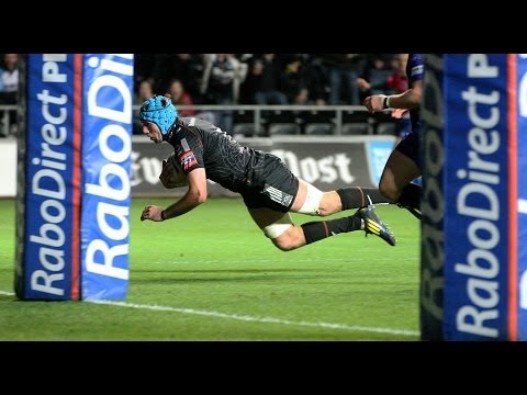 Justin Tipuric chips & collects for his second try  - Ospreys v Newport Gwent Dragons 25th Oct 2013