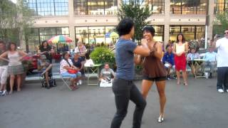 Outdoor Salsa Dancing With Talia and Ernesto - NYC 7-12-2012