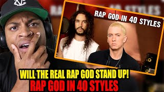 Eminem  Rap God | Performed In 40 Styles | Ten Second Songs REACTION!!